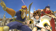Captain Falcon, Pit e Ike en el Coliseo SSB4 (Wii U).png