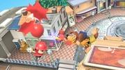 Banjo y Kazooie usando el Pico Bayoneta contra los globos del aldeano SSBU.jpg
