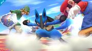 Lucario usando su ataque Smash hacia abajo en SSB4 (Wii U).png