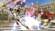 Ike atacando a Corrin en el Coliseo SSB4 (Wii U).jpg