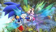 Sonic realizando un ataque aéreo contra Luigi SSB4 (Wii U).jpg