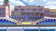 Samus, Olimar y la Entrenadora de Wii Fit en Ciudad Delfino SSB4 (Wii U).jpg