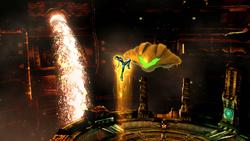 Samus Zero abordando la Nave de combate en Super Smash Bros. para Wii U