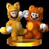 Trofeo de Mario tanuki y Luigi kitsune SSB4 (3DS).png