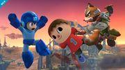 Mega Man, Aldeano y Fox en el Campo de batalla SSB4 (Wii U).jpg