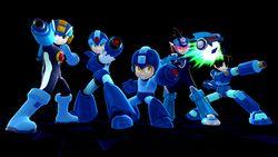 Todos los Megaman apunto de disparar con su Megacañón en Super Smash Bros. para Wii U.