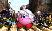 Daraen hombre y mujer junto a Kirby en el Valle Gerudo SSB4 (3DS).jpg