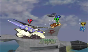 Fox usando su Smash Final en Corneria SSB4 (3DS).png