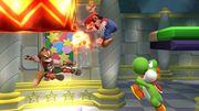 Fox, Mario y Yoshi en El gran ataque de las cavernas SSB4 (Wii U).jpg