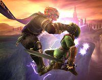 Ganondorf aplicándole una descarga eléctrica a Link en Super Smash Bros. Brawl