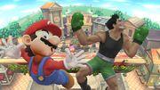 Mario y Little Mac recibiendo un K.O. de pantalla SSB4 (Wii U).jpg