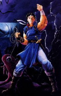 Art oficial de Richter Belmont en Castlevania: Rondo of Blood.
