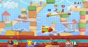 Pikachu, el Aldeano, Captain Falcon y Samus en el Reino de la lana (Wii U).PNG