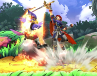 Roy utilizando el movimiento contra Falco en Super Smash Bros. for Wii U