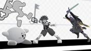 Sora, Mr. Game & Watch, Kirby y Link en PictoChat 2 SSBU.jpg