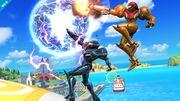 Samus oscura atacando junto a Samus SSB4 (Wii U).jpg