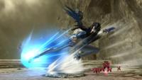 Bayonetta usando el movimiento en Super Smash Bros. para Wii U