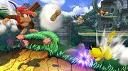 Diddy Kong, Pikachu, Rey Dedede y Donkey Kong en la Jungla escandalosa SSB4 (Wii U).jpg