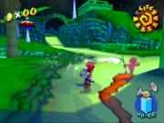 Mario persiguiendo a Mario Oscuro en la Aldea Foresta de Super Mario Sunshine.PNG
