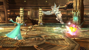 Estela lanzando al Destello contra Pit SSB4 (Wii U).png