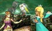 Zelda, Estela y Viridi en el Bosque Génesis SSB4 (3DS).jpg