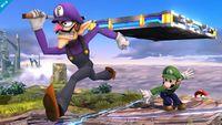 Waluigi, Luigi y Mario en Campo de Batalla SSB4 (Wii U).jpg
