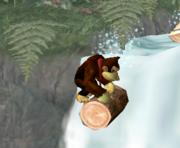 Donkey Kong sobre un tronco en Selva Kongo SSBM.png