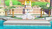 Samus Zero con Olimar y la Entrenadora de Wii Fit en Ciudad Delfino SSB4 (Wii U).jpg