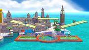 Samus Zero, Olimar y la Entrenadora de Wii Fit en Ciudad Delfino SSB4 (Wii U).jpg