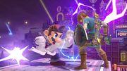 Ataque fuerte lateral Dr. Mario hacia Link SSBU.jpg