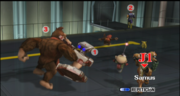 Samus Pikachu R.O.B. Captain Falcon Donkey Kong Diddy Kong y Olimar seleccion La fabrica de bombas subespaciales II ESE SSBB (2).png