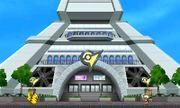 Pikachu y Olimar en la base del escenario Torre Prisma - (SSB. for 3DS).jpg