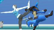 Lucario junto a la Entrenadora Wii Fit en la Zona de entrenamiento SSB4 (Wii U).png