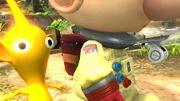 Olimar con su silbato y el logo Hocotate en su hombro SSB4 (Wii U).jpg