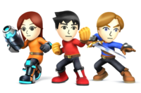 Art oficial de las tres formas del Luchador Mii en Super Smash Bros. para Nintendo 3DS y Wii U