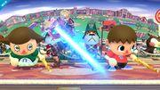 Shulk con los Aldeanos en Sobrevolando el pueblo SSB4 (Wii U).jpg