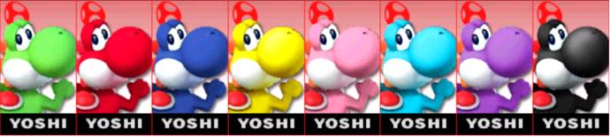Paleta de colores de Yoshi SSB4 (3DS).png