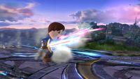 Espadachín Mii ejecutando las Estocadas relámpago en Super Smash Bros. for Wii U