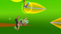 El Entrenador Pokémon parado sobre una rama. Nótese que la imagen ha sido tomada con la cámara inclinada y los personajes se ven en 2D.
