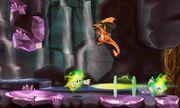 Charizard siendo atacado por dos Plasma Wisp en Smashventura SSB4 (3DS).jpg