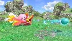 Kirby usando la Arma Alada.