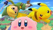 Toon Link Kirby y Pikachu en Ciudad Smash SSB4 (Wii U).jpg