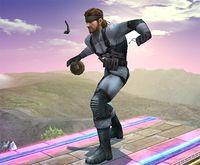 Snake con una Granada en Super Smash Bros. Brawl