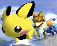 Pichu usando Agilidad en Super Smash Bros. Melee