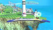 Olimar, Aldeano, Samus Zero y Kirby en las Islas Wuhu SSB4 (Wii U).jpg