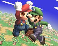 Mario y Luigi usando el Supersalto Puñetazo en Super Smash Bros. Brawl