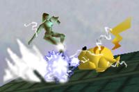 Pikachu electrocutando a Samus SSB (2).png