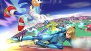 Samus Zero y Sonic en Sobrevolando el pueblo SSB4 (Wii U).jpg