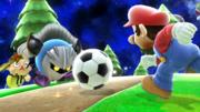 Mario, Aldeano y Meta Knight en Galaxia Mario SSB4 (Wii U).png