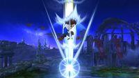 Espadachín Mii cayendo con la Estocada sideral en Super Smash Bros. for Wii U